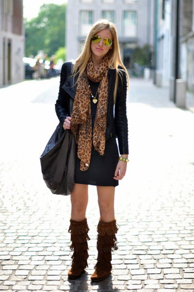 brown french boots black shift dress clothing jacket