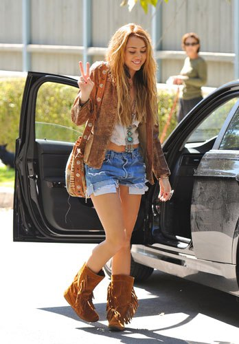 brown fringe boots denim shorts Miley Cyrus