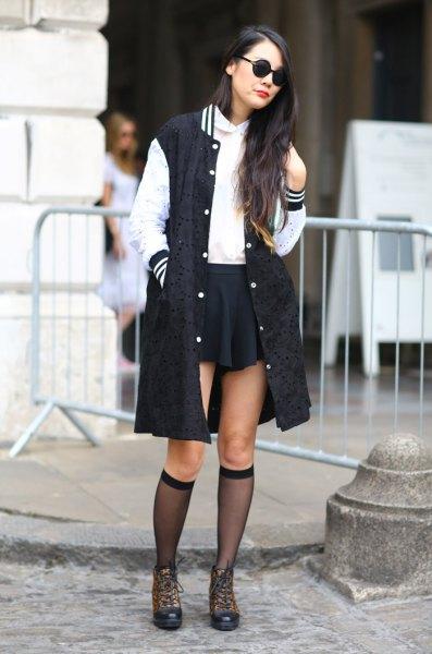 long line baseball jacket black skater skirt
