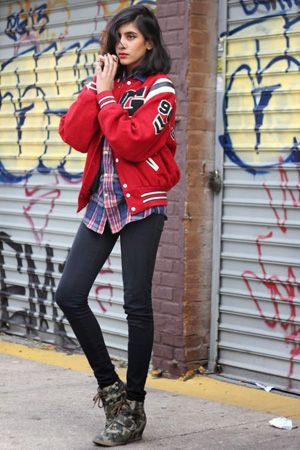 red baseball jacket plaid boyfriend shirt