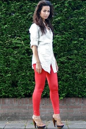 white button up boyfriend shirt red leggings