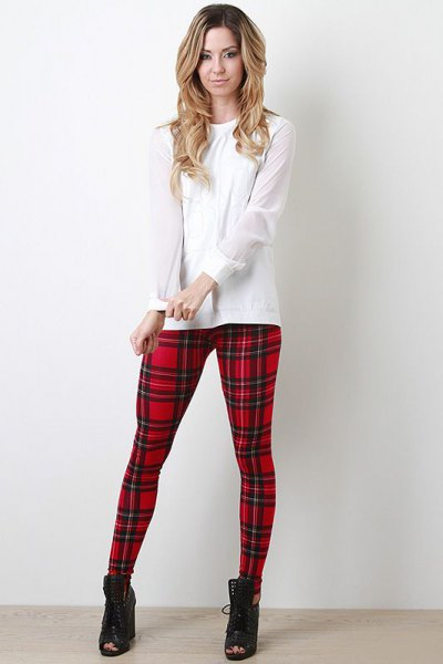 white blouse red and black checkered leggings