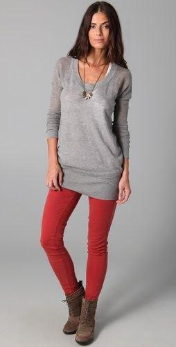 red leggings gray sweater dress