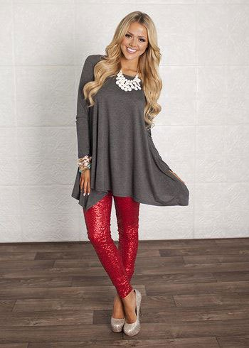 gray flare dress red sequin leggings