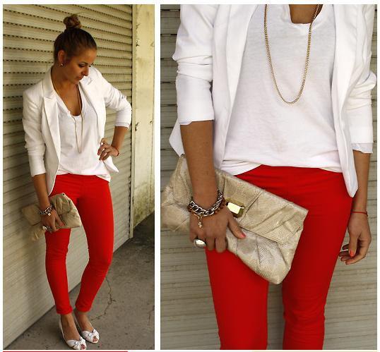 red leggings white u-top white blazer