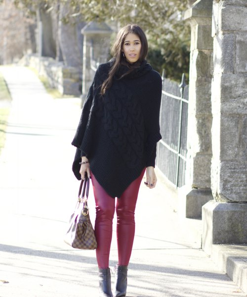 red leggings black wool coat boots