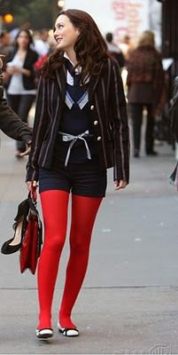 black blazer navy blue shorts red leggings