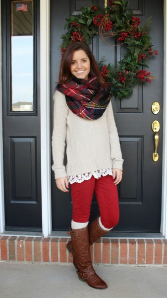 red leggings thick sweater knee high boots