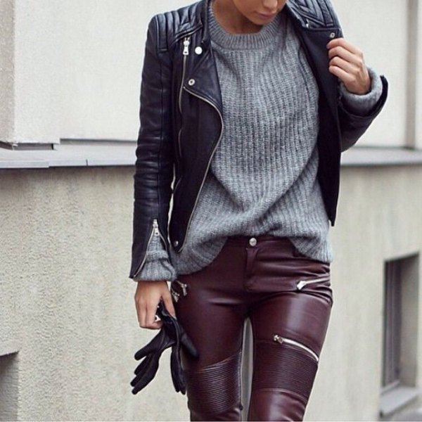 leather jacket and trousers gray sweater