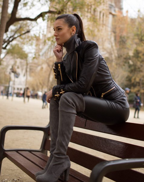 leather pants thigh high suede boots