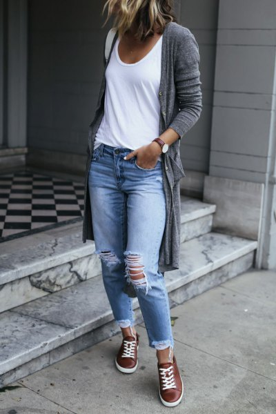 brown leather sneakers long gray cardigan