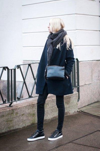 black leather sneakers navy blue long wool coat