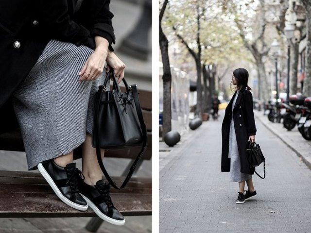 black coat striped dress leather sneakers