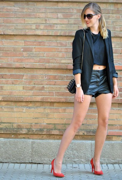 black leather shorts crop top