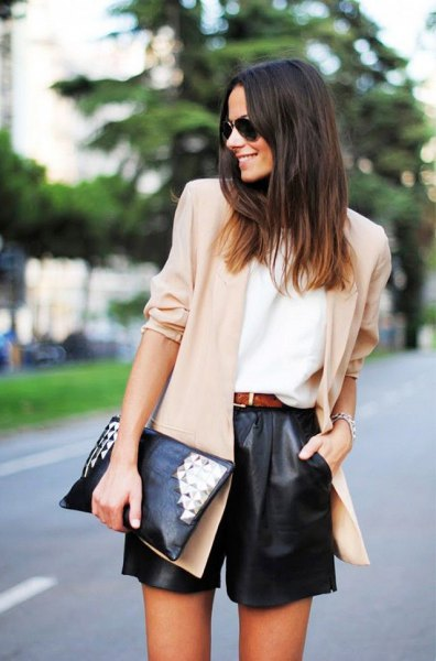 cream chiffon blazer black leather shorts