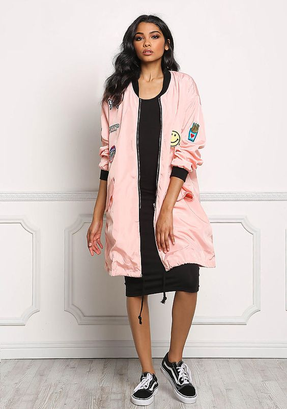 pink stickers with long bomber jacket