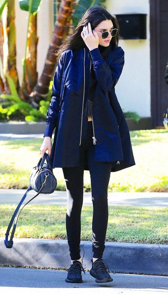 long bomber jacket blue