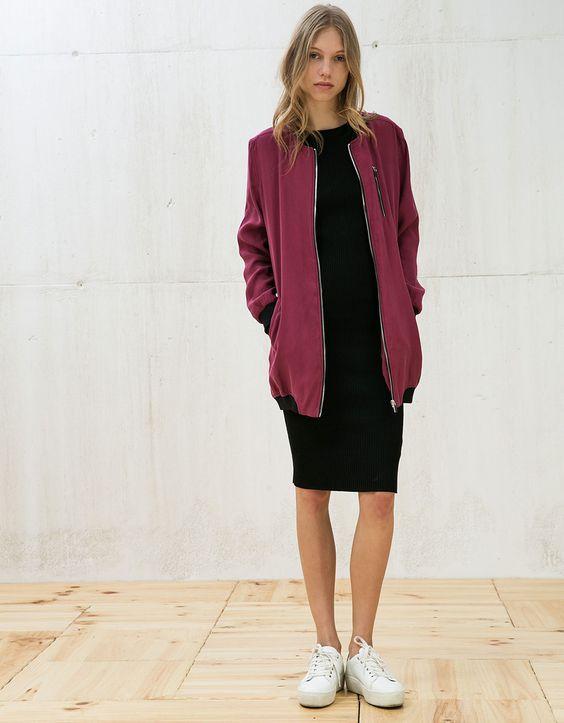 long bomber jacket burgundy