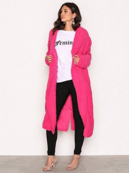 shocking pink maxi jacket black skinny jeans