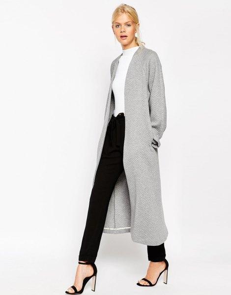 gray textured maxi jacket