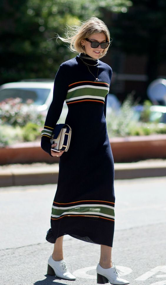 knitted sweater dress long stripes
