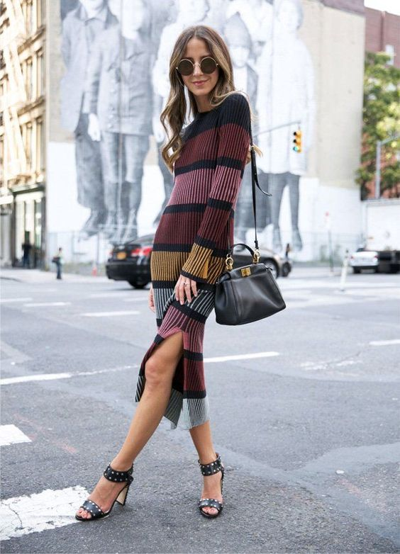 knitted sweater dress stripes