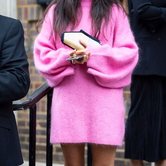 knitted sweater dress pink