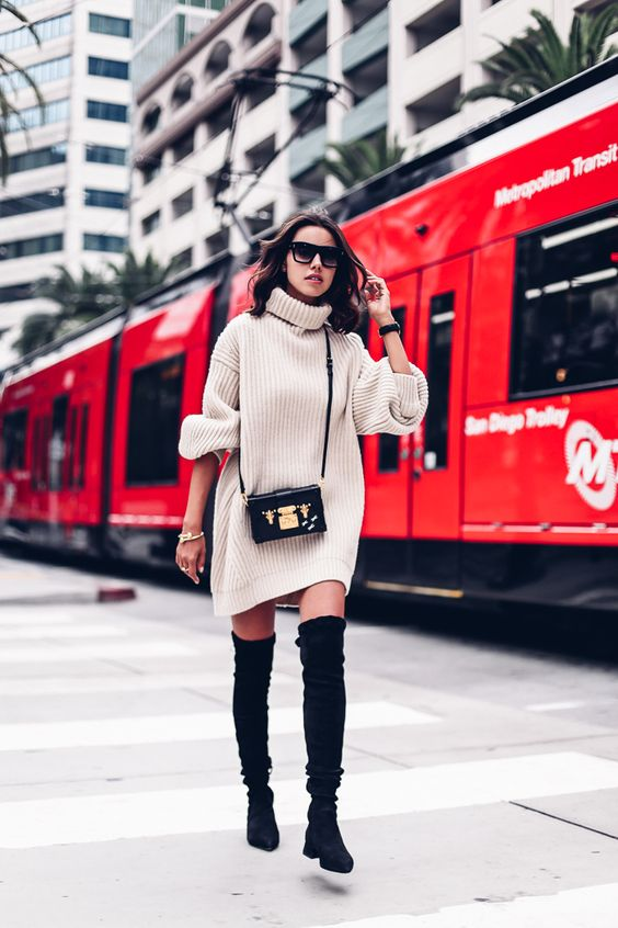 knitted sweater dress beige