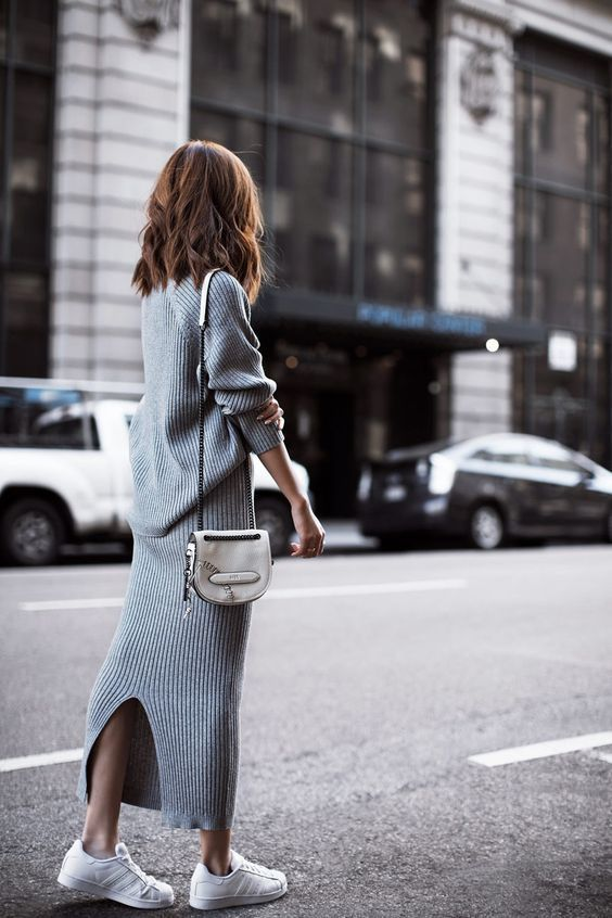 knitted sweater dress gray long