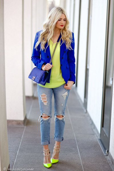 yellow nail heels royal blue blazer