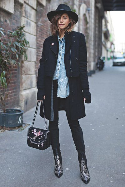 doubled ankle boots black long blazer