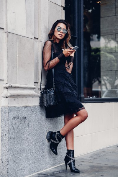 double heels black shift dress