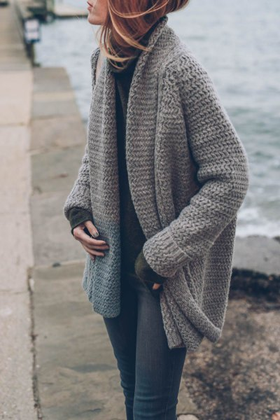 gray chunky knitted sweater cardigan