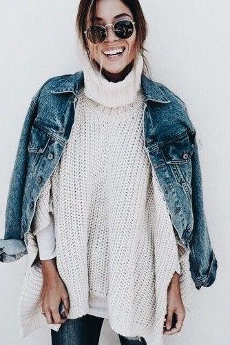 white turtleneck chunky sweater draped denim jacket