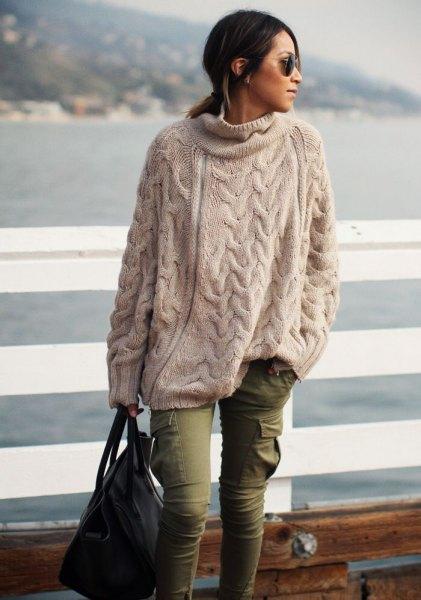 cream big sweaters cargo pants