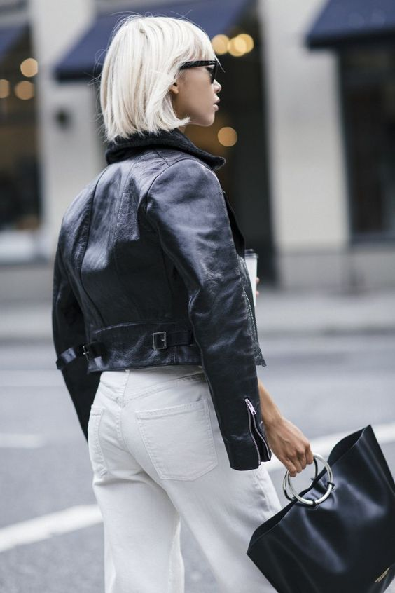 short jacket white jeans