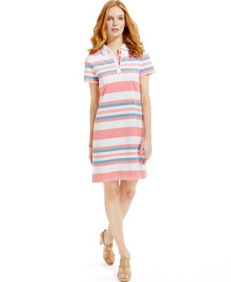 rainbow colored striped dress in polo shirt