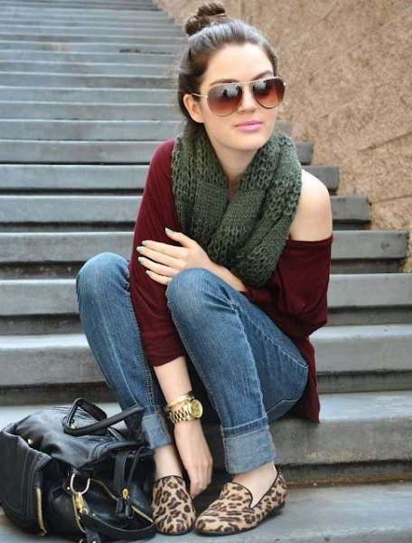 a shoulder sweater scarf cheetah flats