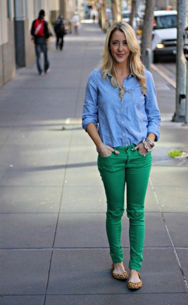 denim shirt green skinny jeans cheetah shoes