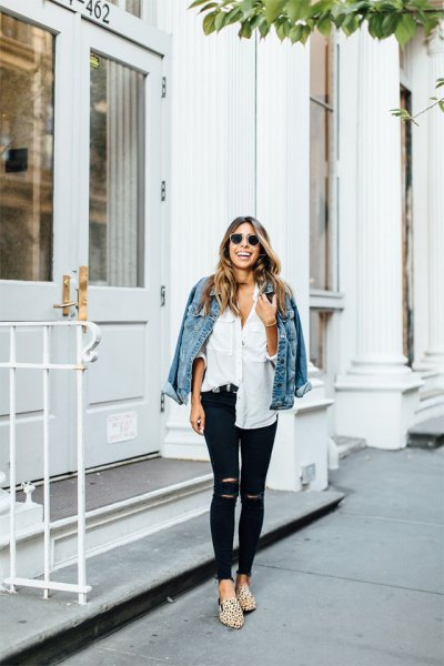 cheetah flats white shirt denim jacket