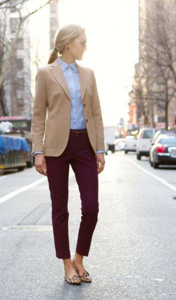 camel blazer denim shirt camel flats