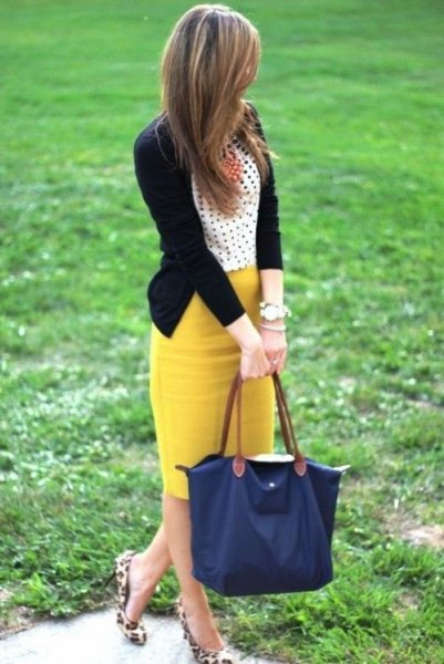polka dot top yellow skirt cheetah flats