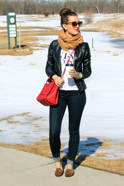 black leather jacket cheetah flats