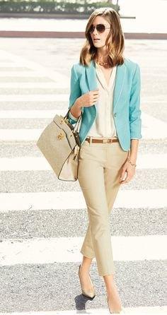 blue blazer cropped beige pants nude heels