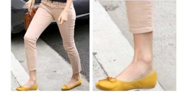 yellow flats cropped beige skinny pants