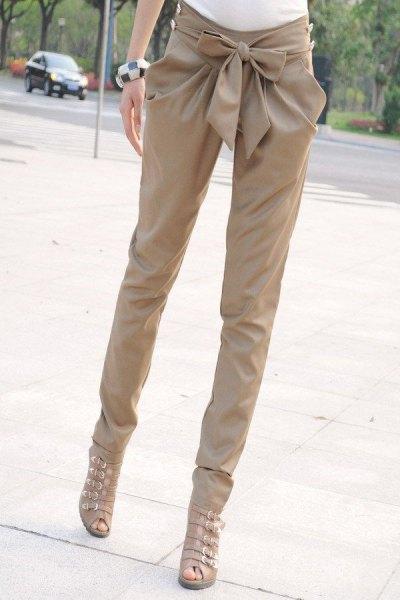 beige gladiator heels sandals skinny pants