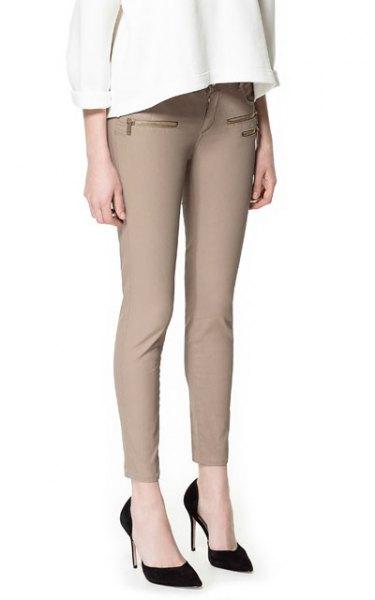 black ballet heels beige skinny pants