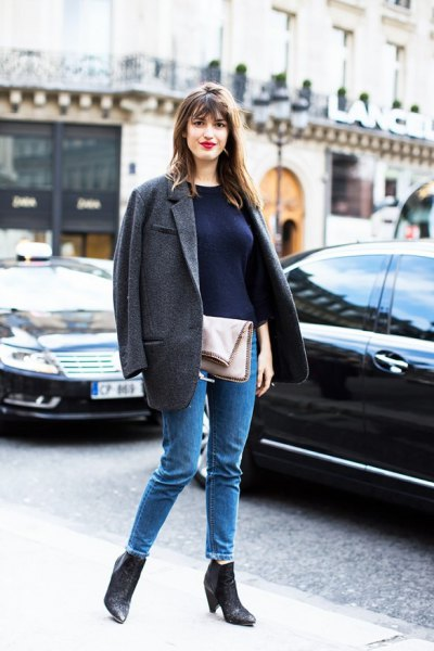 gray oversized wool blazer ankle boots