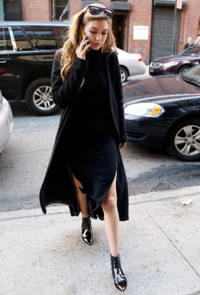 black sweater dress point toe ankle boots