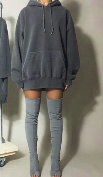 dark gray hoodie dress gray thigh high boots